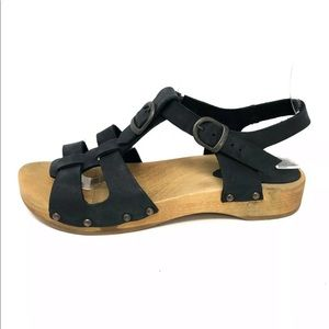 Sanita Black Leather Wood Sandals Size 37 US 7